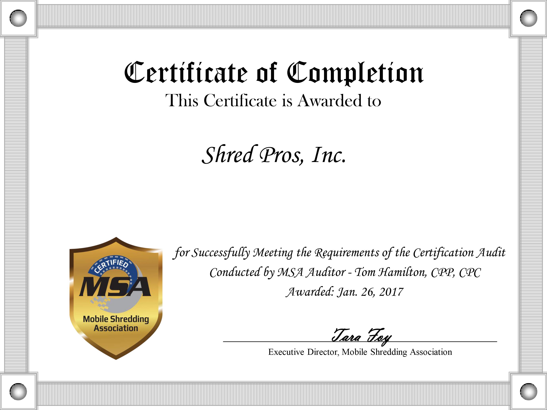 Shredpros file shredding services document shredder deltona fl shredpros certificate certificate xflitez Choice Image