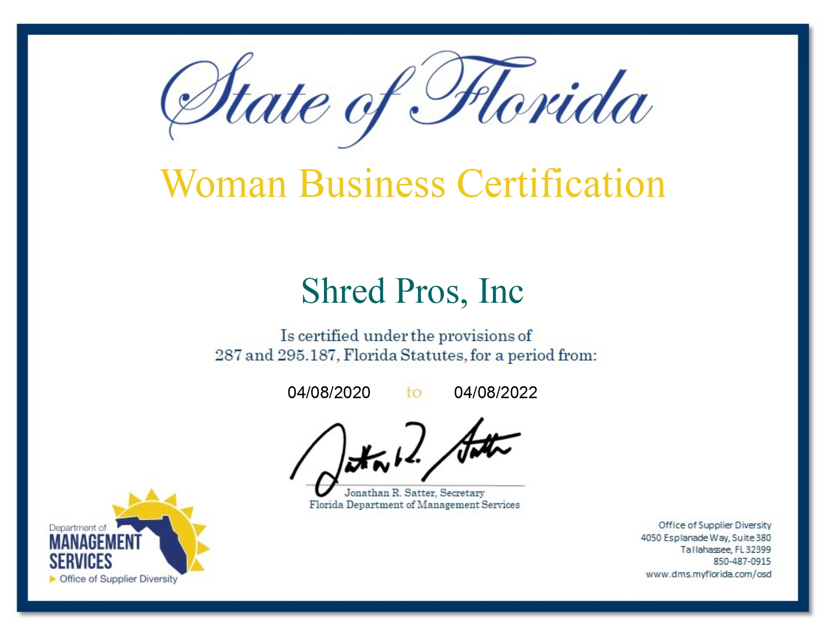 Woman Business Certificate